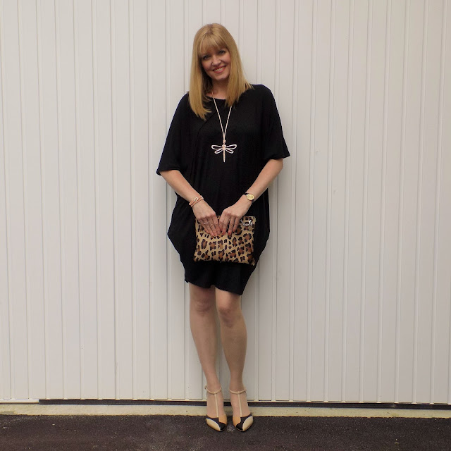 Cocoon dress, dragonfly pendant and colour block hels