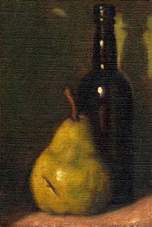 Oil painting of a green pear with an antique black glass whisky bottle.