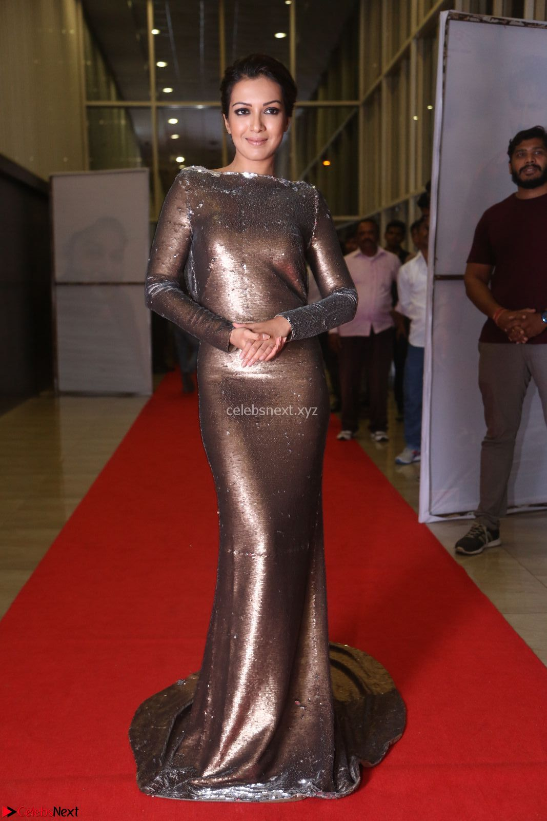 Actress Catherine Tresa in Golden Skin Tight Backless Gown at Gautam Nanda music launchi ~ Exclusive Celebrities Galleries