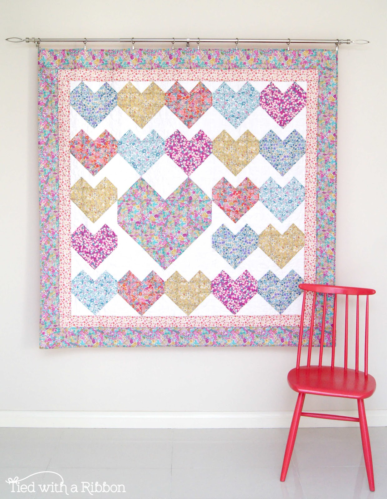 Tied with a Ribbon Love Letters Quilt Made with Alice Caroline