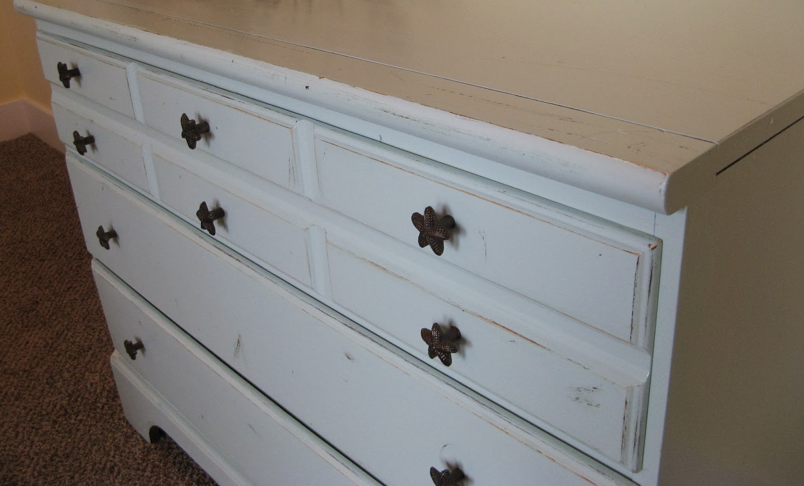 Dresser - Candlewax paint distressed SW #5477 Tidewater