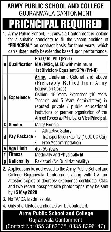Army Public School and College Gujranwala Cantt Jobs May 2020
