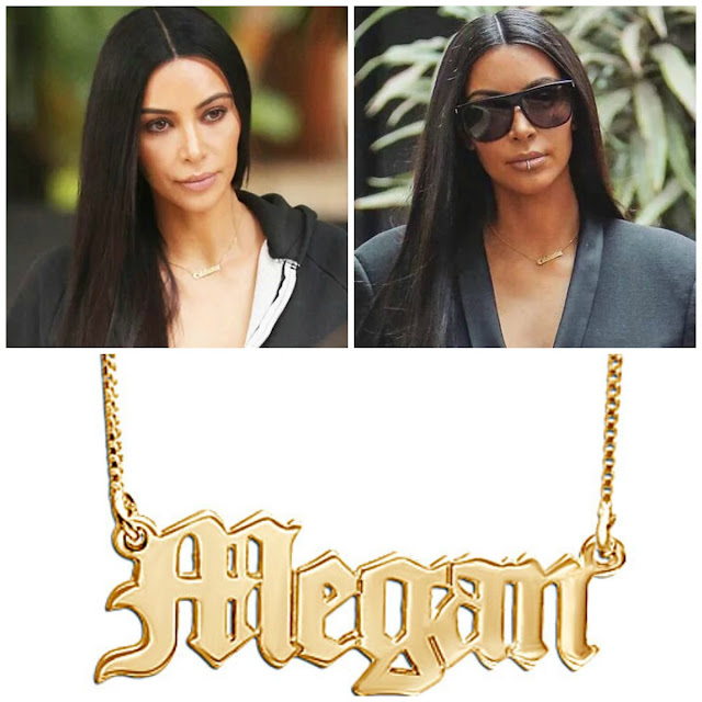Kim Kardashian Gothic Name Necklace