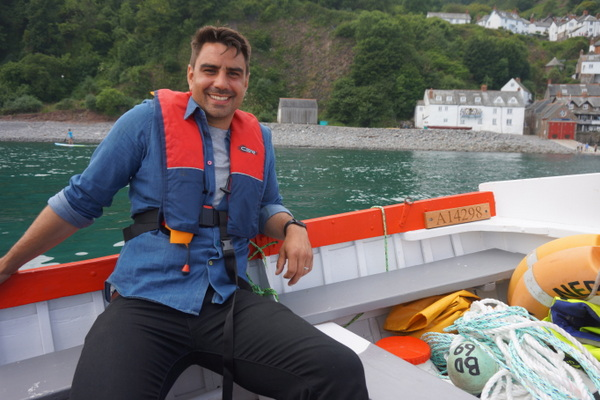 BBC Bloom Presenter Chris Bavin on a Clovelly fishing boat. Photo copyright BBC (All Rights Reserved)