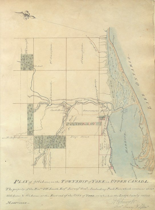 Plan of 916 1/4 acres, in the Township of York in Upper Canada. The property of the Honble. D.W. Smith, 1802 by William Chewett