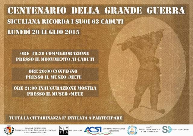 Centenario dell Grande Guerra - mostra e convegno al Museo #MeTe di Siculiana