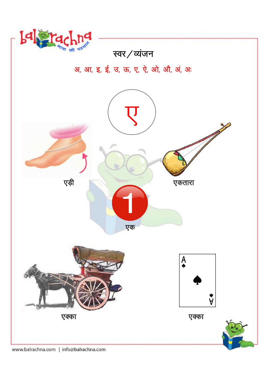 Balrachna Varnamala Swar Vyanjan 1