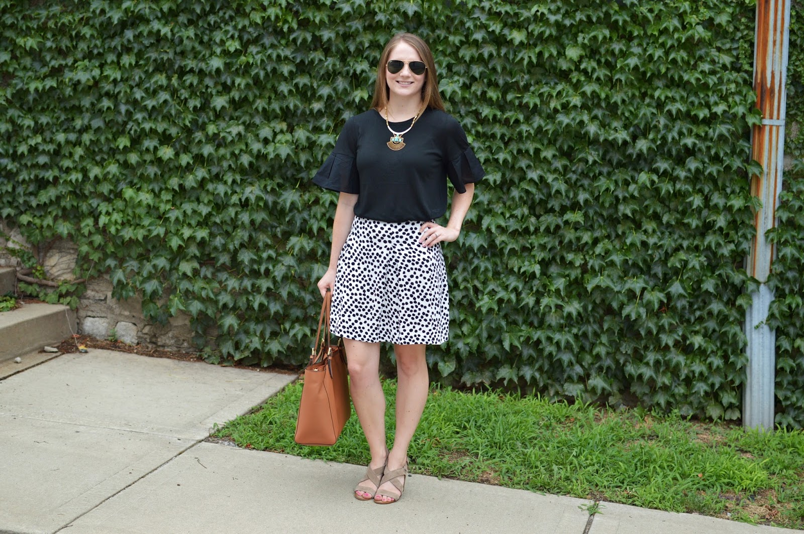 what to wear to work this summer | a memory of us | kansas city fashion blog | black flare sleeve top | black and white polka dot top | cute outfits for work | cute outfit ideas for summer | what to wear this summer |