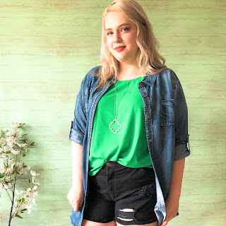 plus size umgee green top