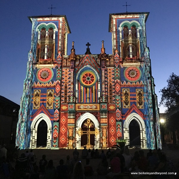San Antonio/The Saga projected on exterior of San Fernando Cathedral in San Antonio, Texas