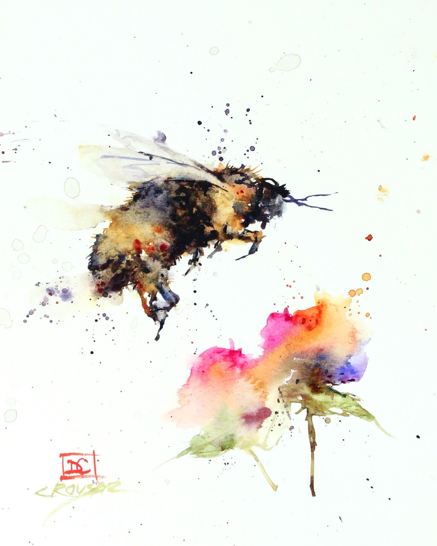 05-Bumblebee-and-Flower-Dean-Crouser-A-Love-of-the-Outdoors-Spawns-Animal-Watercolor-Paintings-www-designstack-co