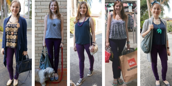 5 different ways to wear navy with purple skinny jeans | awayfromblue