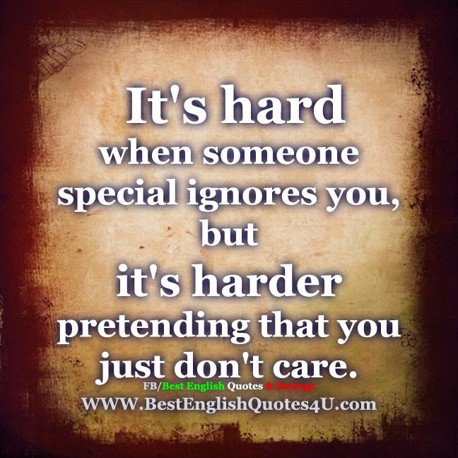 Quotes About Caring For Someone Special: It's Hard When Someone Special Ignores You...