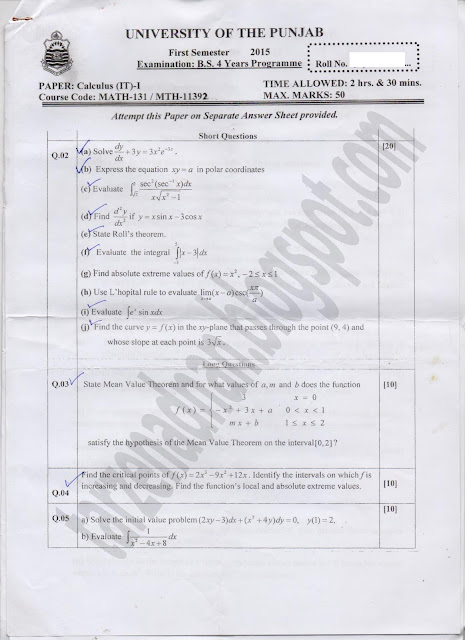 PUNJAB UNIVERSITY AFFILIATED COLLEGES BSIT,1st SEMESTER