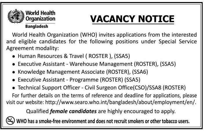 World Health Organization (WHO) Job Circular 2019