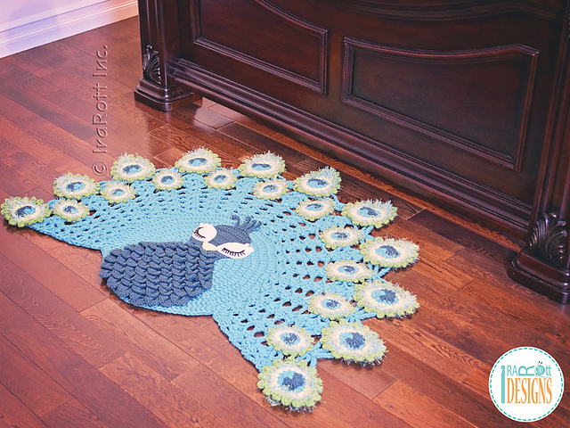 Pavo the peacock rug crochet pattern free