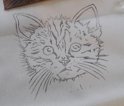 chat encre sur tissu