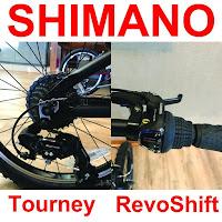 EuroMini ZiZZO Via Shimano Tourney 7-speed rear derailleur & Shimano Revo 7-speed grip shifter, image