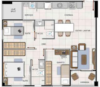 Três quartos com 3 quartos com duas suítes sendo uma reversível