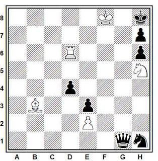 Estudio artístico de ajedrez compuesto por H. M. Lommer (Ceskoslovensky Sach 1934)
