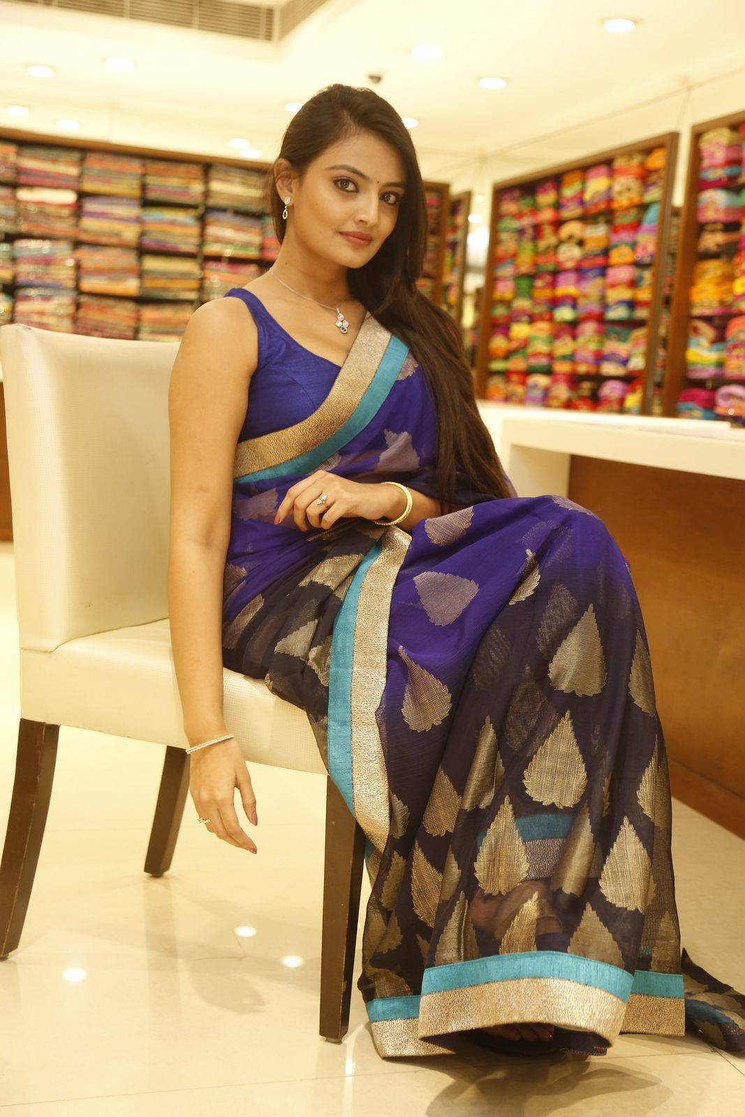 Nikitha Narayan Spicy Photos In Blue Saree