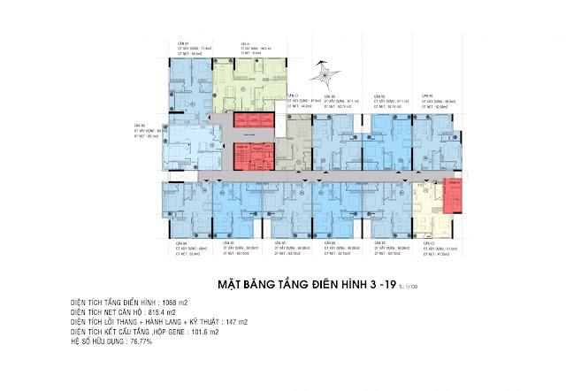 Mặt bằng tầng 3-19 dự án căn hộ Carillon 5 Tân Phú.