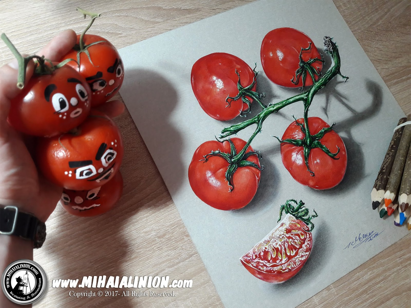 Drawing Tomatoes, Drawing tomato, Drawing vegetables, tomato illustration, vegetables illustration, funny tomato, tomato juice, painting tomatoes, How to draw a tomato, How to draw vegetables, how to draw stuff, tomato pencil drawing, tomato bunch, vegetables, rotten tomatoes, Product Design, Realistic 3D Art, Realistic Drawing, drawing object shadows, Realistic 3D Art, drawing 3d objects, illustrations by mihai alin ion, MAI Comics, Mihai Alin Ion, art by mihai alin ion, how to draw, artselfie, drawing ideas, free drawing lessons, drawing tutorial, art, dessin, disegno, dibujo, drawing for kids, drawing, illustration, painting, design, realistic 3d art, coloured pencils, www.mihaialinion.com, 2018, pencil drawing, tempera, acrilics paint, marker, gouache painting, mixed media, comics, comic book, caricature, portrait, cum sa desenezi, caricaturi mihai alin ion, caricaturi si portrete  la comanda, eveniment caricaturi, caricaturi la nunta, caricaturi la botez, caricaturi la majorat, desene pe pereti, desene pentru copii, ilustratie carte, benzi desenate, caricaturi, portrete, comanda caricaturi