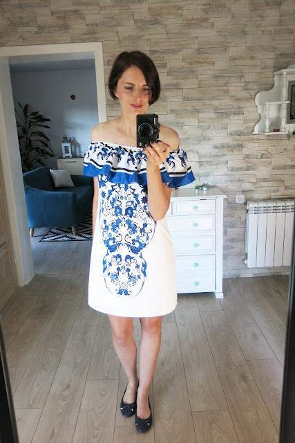 Porcelain Print Flare Dress   Sukienka