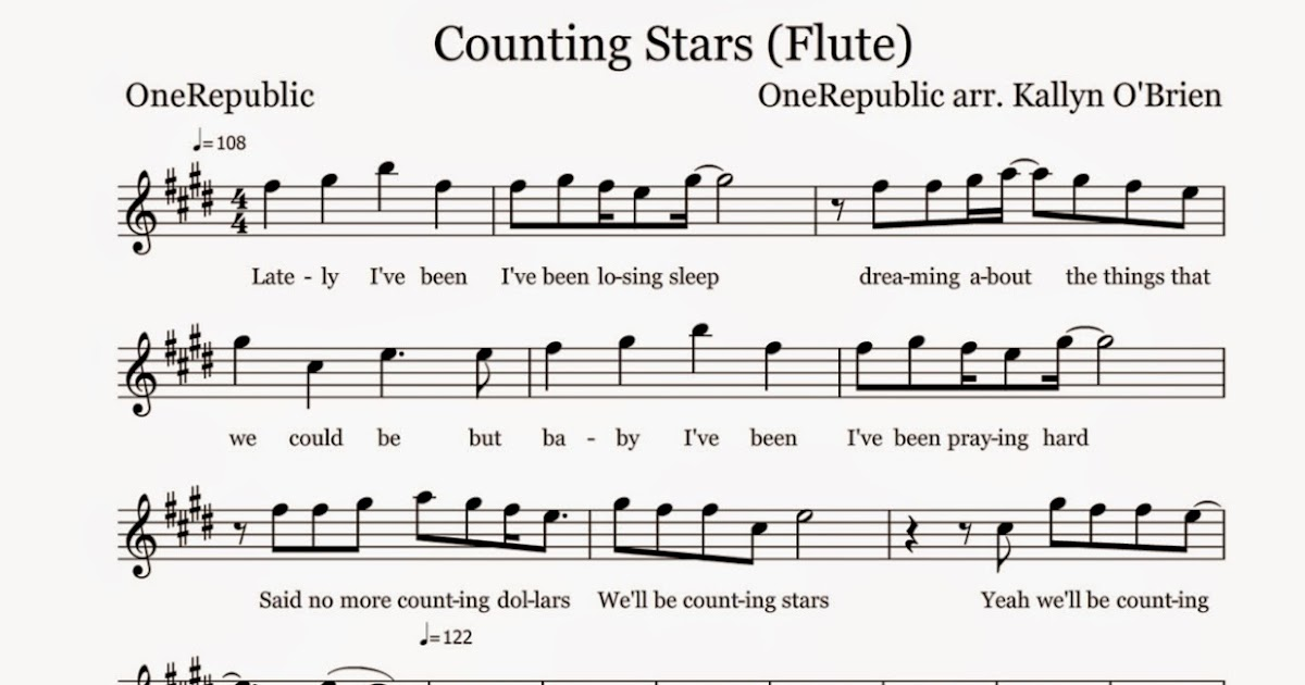 counting stars flute sheet music notes easy sheets simple