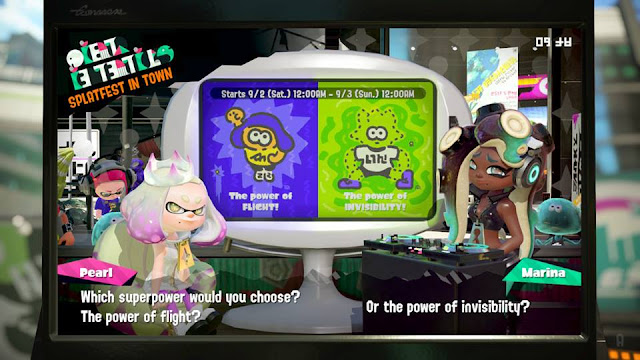 Splatoon 2 Splatfest superpower flight invisibility Pearl Marina
