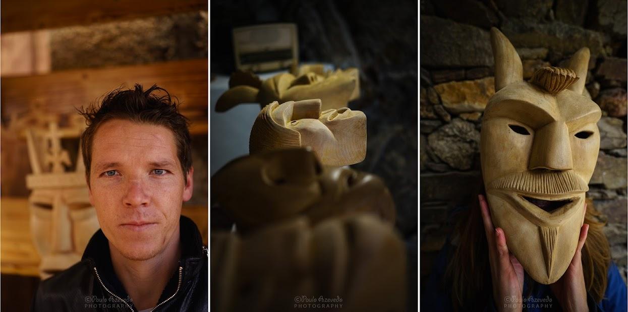 Paulo Fernandes e algumas máscaras de madeira