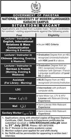Jobs In National University Of Modern Languages Jobs in karachi 2018