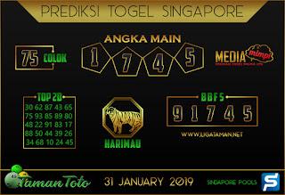 Prediksi Togel SINGAPORE TAMAN TOTO 31 JANUARI 2019