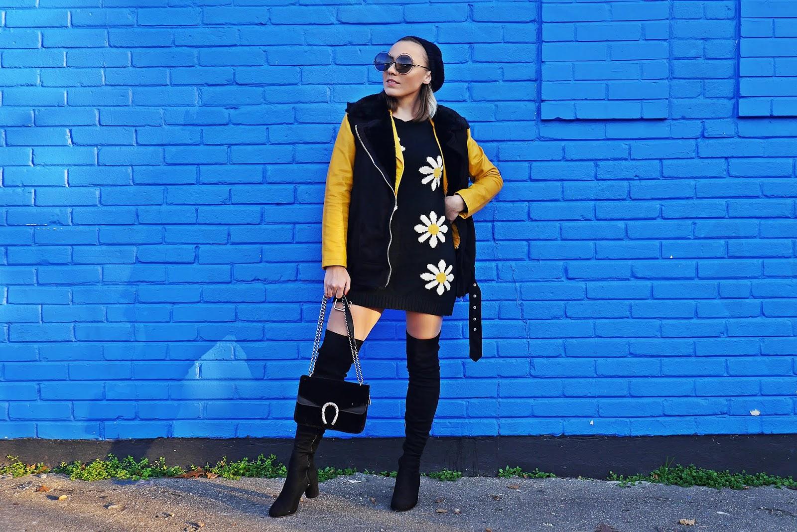Sweter w stokrotki czarna kamizelka kozaki za kolano karyn blog modowy