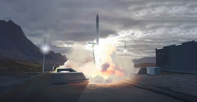Artist's impression of a rocket lifting off from the Sutherland spaceport. Image Credit: UK Space Agency/Orbex