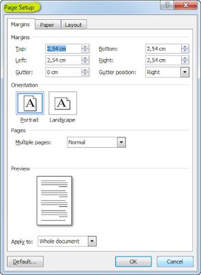 cara mengatur page setup