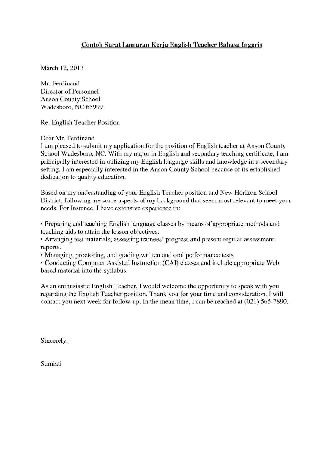 Contoh Lengkap Surat Lamaran Kerja Dalam Bahasa Inggris