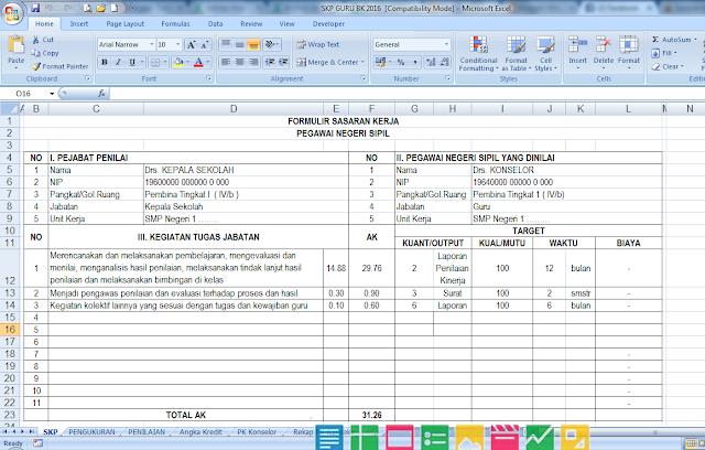 Aplikasi SKP untuk Guru BK Format Excel Terbaru