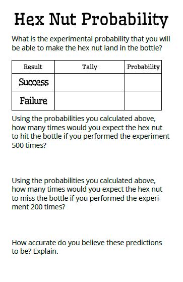 Math = Love: Hex Nut Probability Activity