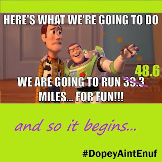 here's what we're going to do. we are going to run 48.6 miles for fun. and so it begins