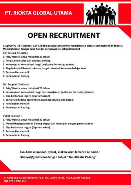 Lowongan Kerja di Padang – PT.Riokta Global Utama (Januari 2017)