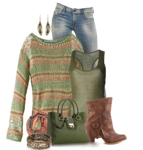 Collection ,style , green Jeans ,Winter