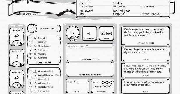 The Dice Are A Lie: 5E Character Sheet Part 2