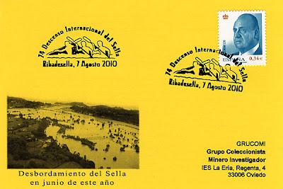 Tarjeta del matasellos de la 74 edición del Descenso Internacional del Sella. Piraguas 2010