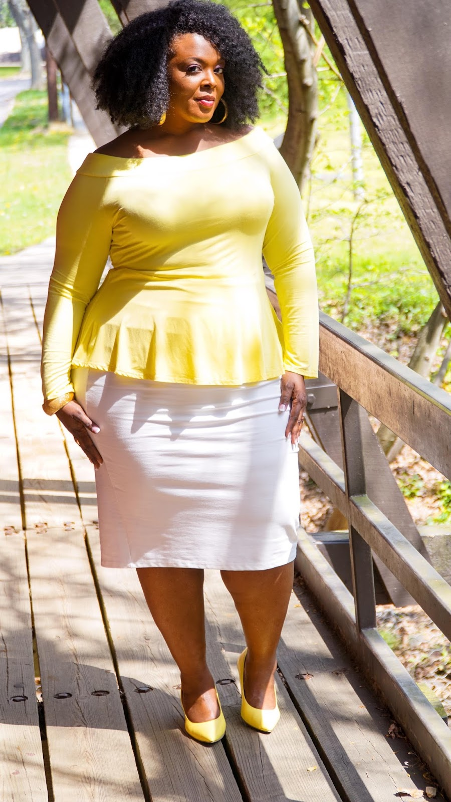 fashion to figure, ftf, plus size yellow top, plus size peplum top, plus size shirts