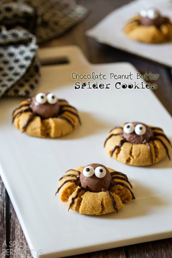 Chocolate Peanut Butter Spider Cookies from A Spicy Perspective