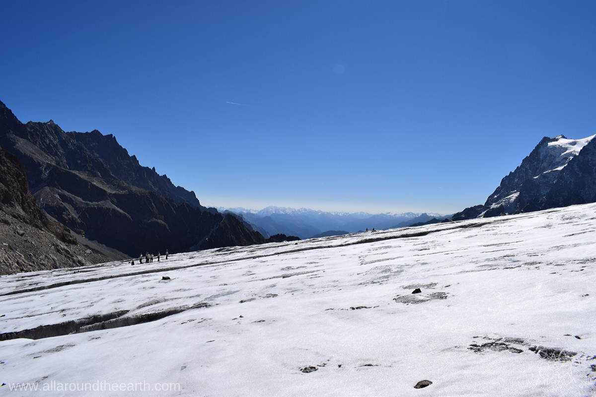 Your view after climbing to Glacier Blanc above the Vallouise Valley in the Écrins National Park in the French Alps.