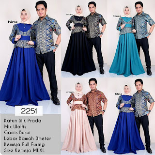Model Baju Batik Gamis Couple Kombinasi Prodo Kode 2251
