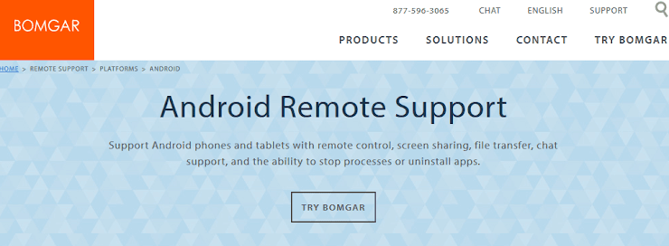 Bomgar service to remote control Android devices