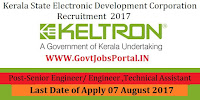 Kerala State Electronic Development Corporation Recruitment 2017– Senior Engineer/ Engineer & Technical Assistant